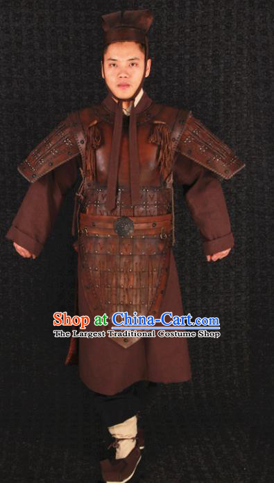 Traditional Chinese Qin Dynasty Soldier Body Armor Outfits Ancient Film Military Officer Armour Terra Cotta Warriors Costumes Full Set
