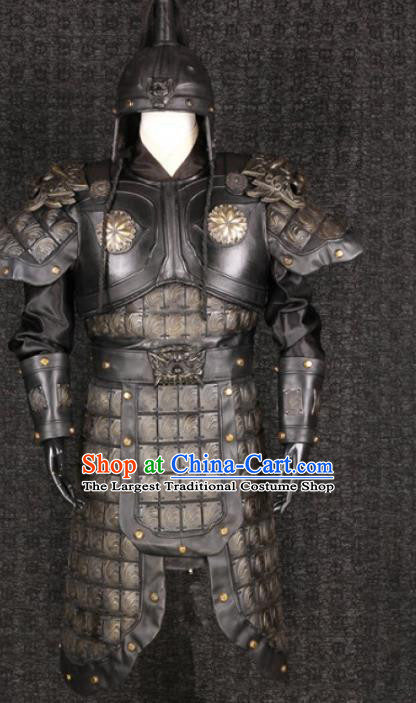 Traditional Chinese Ming Dynasty Warrior Body Armor Outfits Ancient Film General Armour Costumes and Headwear Full Set