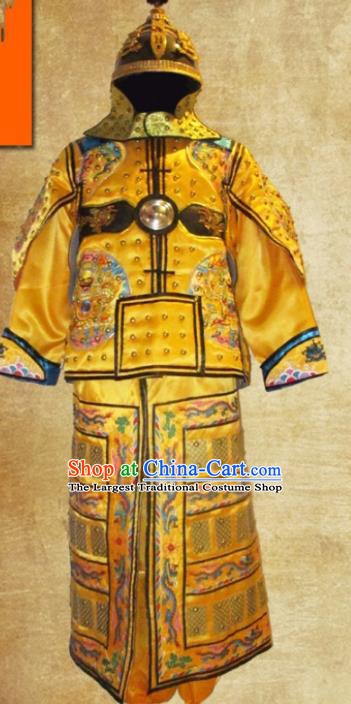 Traditional Chinese Qing Dynasty Emperor Golden Body Armor Outfits Ancient Film Manchu General Armour Costumes and Headwear Full Set