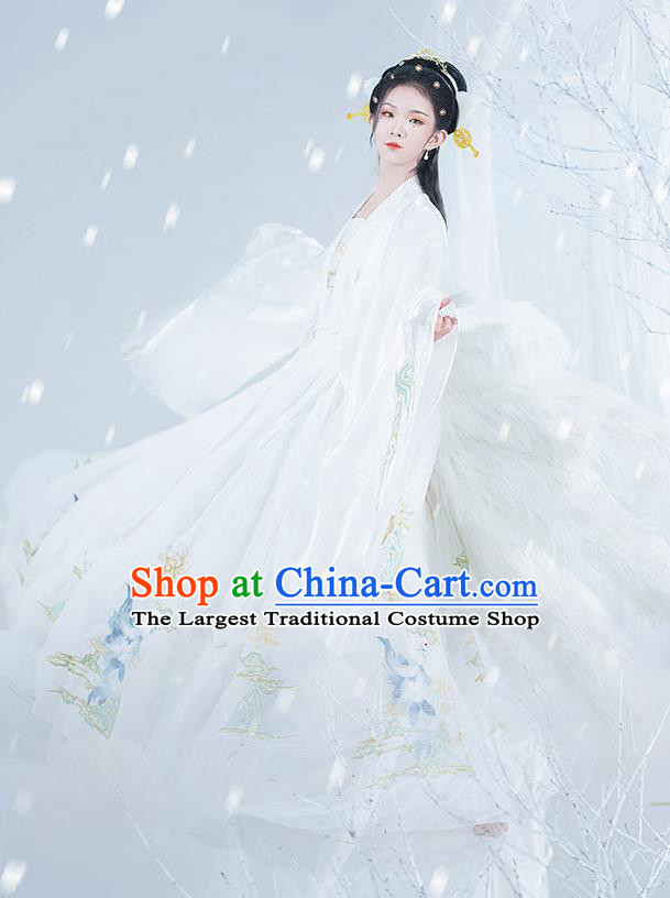 Chinese Ancient Noble Lady Hanfu Garment Costumes Tang Dynasty Royal Princess Cape Blouse Sun Top and Embroidered White Skirt Complete Set