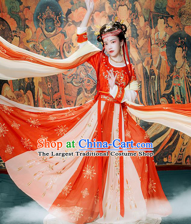 Chinese Ancient Flying Apsaras Goddess Hanfu Garment Costumes Tang Dynasty Court Lady Dance Half Sleeved Top Blouse and Skirt Complete Set