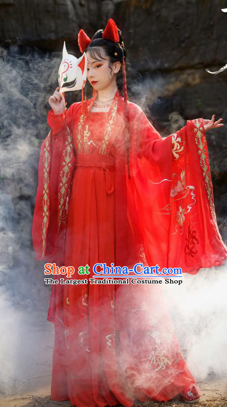 Chinese Ancient Fox Fairy Red Hanfu Garment Costumes Tang Dynasty Court Princess Embroidered Blouse Sun Top and Skirt Full Set