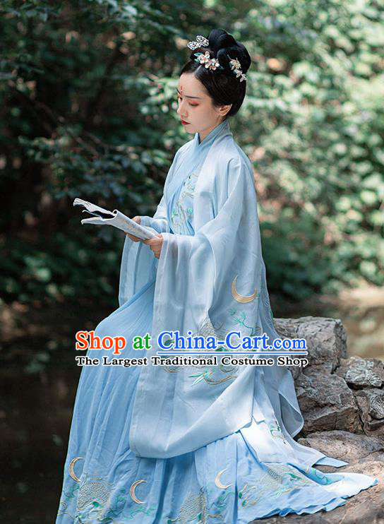 Chinese Ancient Jin Dynasty Noble Woman Embroidered Blue Cape Blouse and Skirt Hanfu Garment Costumes Complete Set