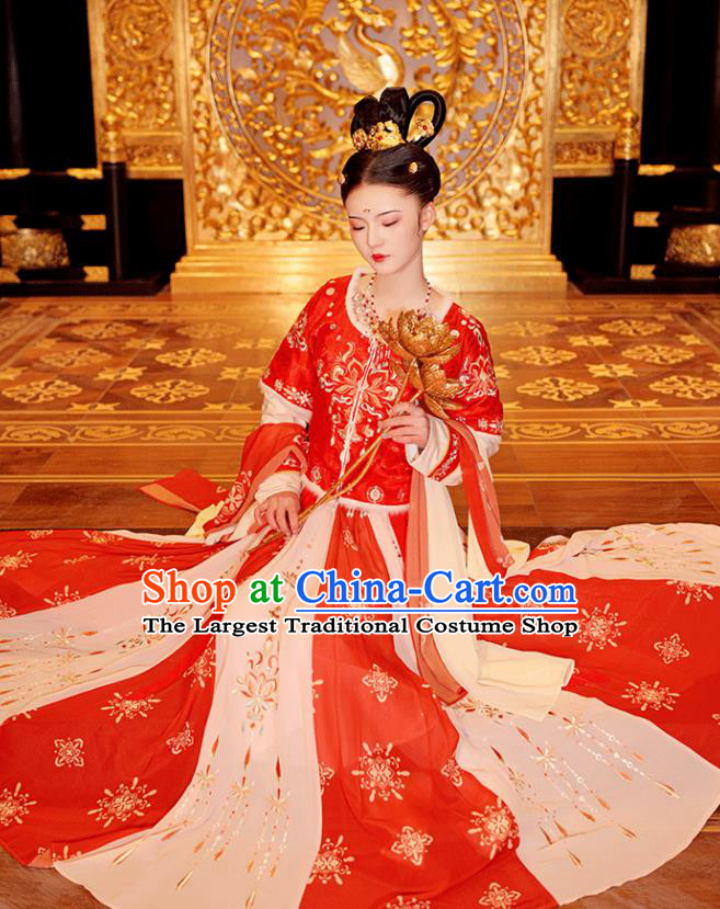 Chinese Ancient Princess Winter Hanfu Garment Costumes Tang Dynasty Red Half Sleeved Top Blouse and Skirt Full Set