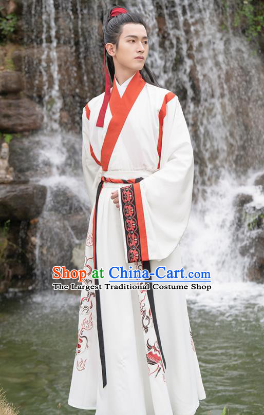 Traditional Chinese Jin Dynasty Scholar Hanfu Apparels Ancient Noble Childe Shirt and Skirt Historical Costumes Full Set for Men