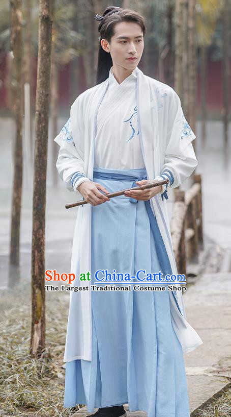 Traditional Chinese Song Dynasty Swordsman Hanfu Apparels Ancient Young Hero Long Vest Shirt and Skirt Historical Costumes Full Set
