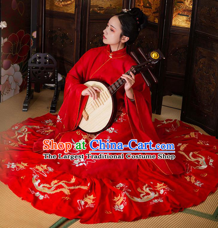 Chinese Ancient Ming Dynasty Wedding Costumes Traditional Noble Lady Hanfu Garment Embroidered Red Long Blouse and Skirt Full Set