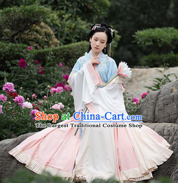 Chinese Ancient Young Lady Hanfu Garment Traditional Jin Dynasty Costumes Half Sleeved Top Blouse and Beige Skirt Full Set