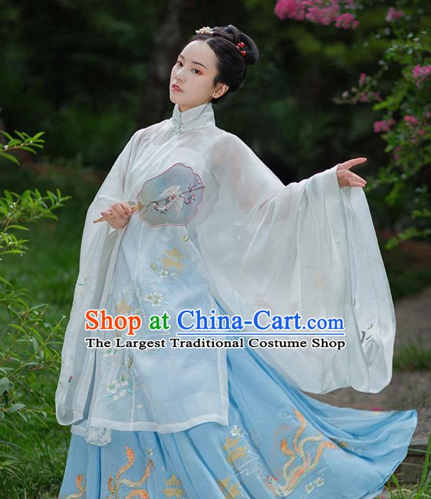 Chinese Ancient Young Lady Hanfu Garment Traditional Drama Ming Dynasty Costumes Embroidered Blouse and Horse Face Skirt for Women