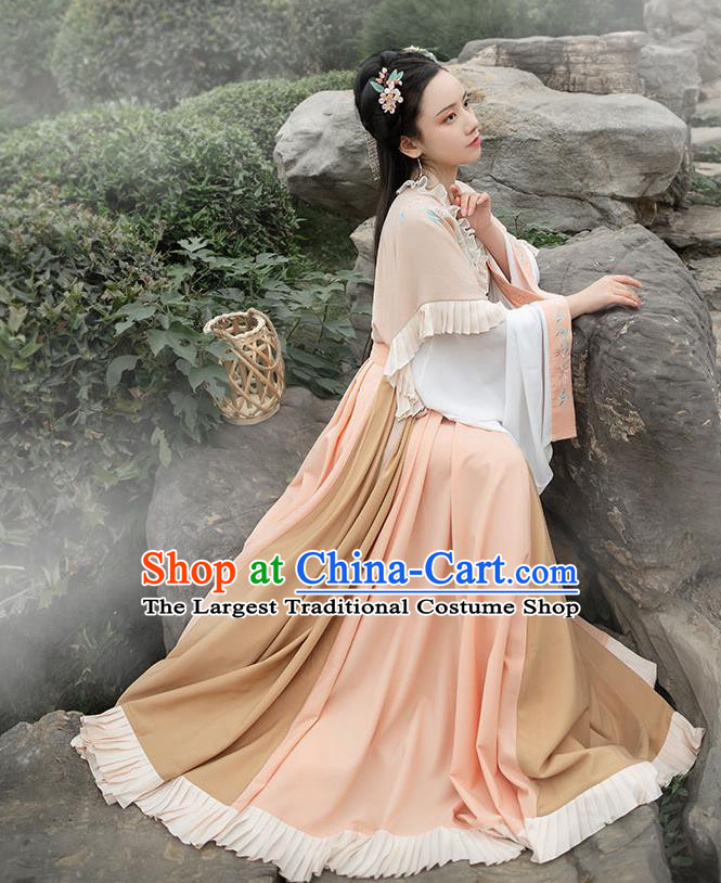 Chinese Ancient Jin Dynasty Princess Hanfu Garment Traditional Embroidered Historical Costumes Complete Set