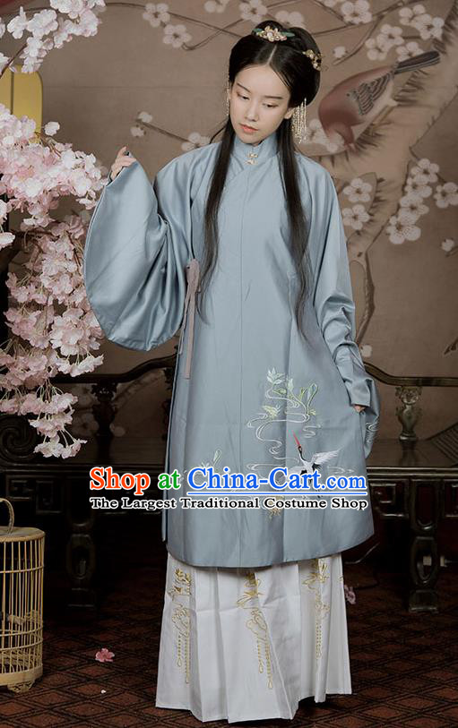 Chinese Ancient Ming Dynasty Aristocratic Lady Hanfu Garment Traditional Young Female Embroidered Long Blouse and Skirt Historical Costumes
