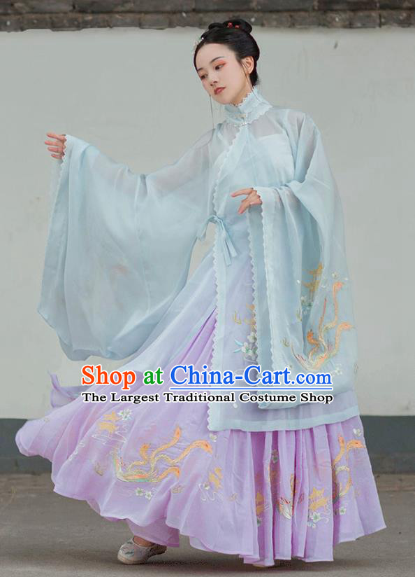 Chinese Ancient Ming Dynasty Young Lady Hanfu Garment Traditional Embroidered Costumes Blue Blouse and Pleated Skirt for Women
