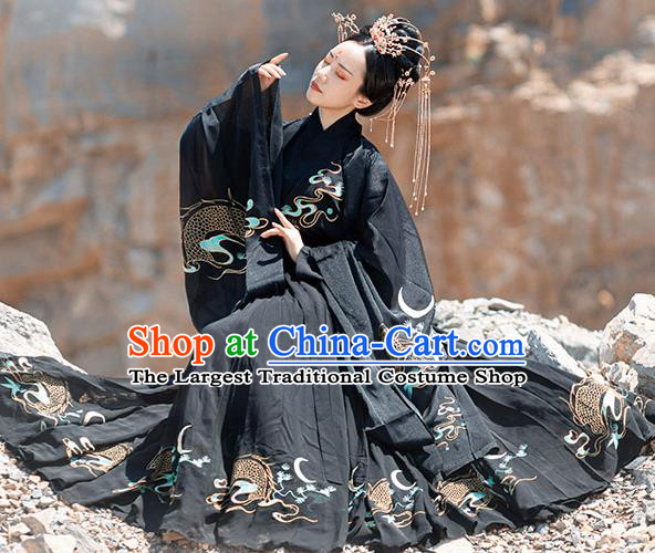 Chinese Ancient Jin Dynasty Palace Lady Black Garment Traditional Royal Princess Embroidered Hanfu Costumes Cloak Blouse and Pleated Skirt Full Set