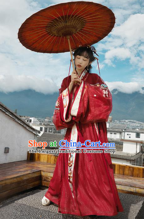 Chinese Jin Dynasty Wedding Garment Traditional Ancient Royal Princess Hanfu Costumes Embroidered Red Blouse and Skirt Full Set