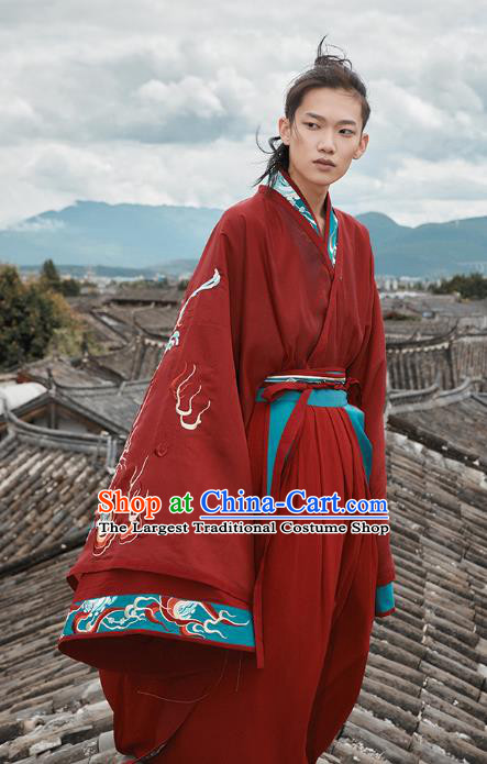 Chinese Jin Dynasty Prince Garment Traditional Ancient Noble Childe Hanfu Costumes Embroidered Wedding Red Blouse and Skirt for Men