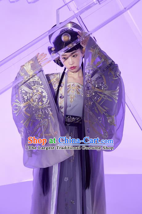Chinese Song Dynasty Imperial Consort Garment Traditional Ancient Noble Woman Hanfu Costumes Embroidered Cloak Top Blouse and Skirt Complete Set