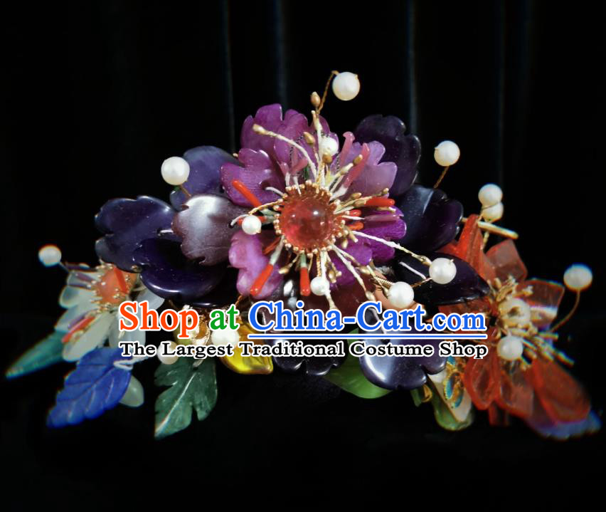 Handmade Chinese Flowers Hairpins Traditional Hanfu Hair Accessories Ancient Qing Dynasty Court Hair Clip for Women
