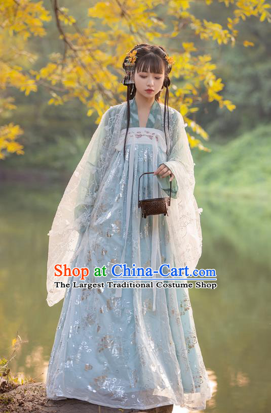 Top Chinese Tang Dynasty Embroidered Costumes Traditional Hanfu Garment Ancient Young Lady Cloak Blouse and Dress Complete Set