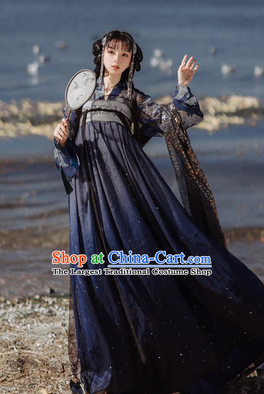 Chinese Tang Dynasty Court Lady Historical Costumes Traditional Hanfu Garment Ancient Princess Navy Blouse and Chiffon Dress for Women