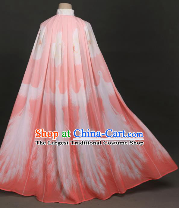 Traditional Chinese Hanfu Pink Chiffon Cloak Ancient Costume Cape for Women