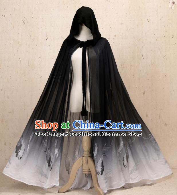 Traditional Chinese Hanfu Black Chiffon Cloak Ancient Costume Cape with Cap for Women