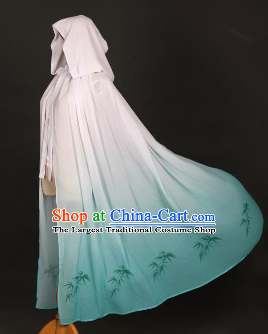 Traditional Chinese Hanfu Light Green Chiffon Cloak Ancient Costume Printing Bamboo Cape with Cap for Women