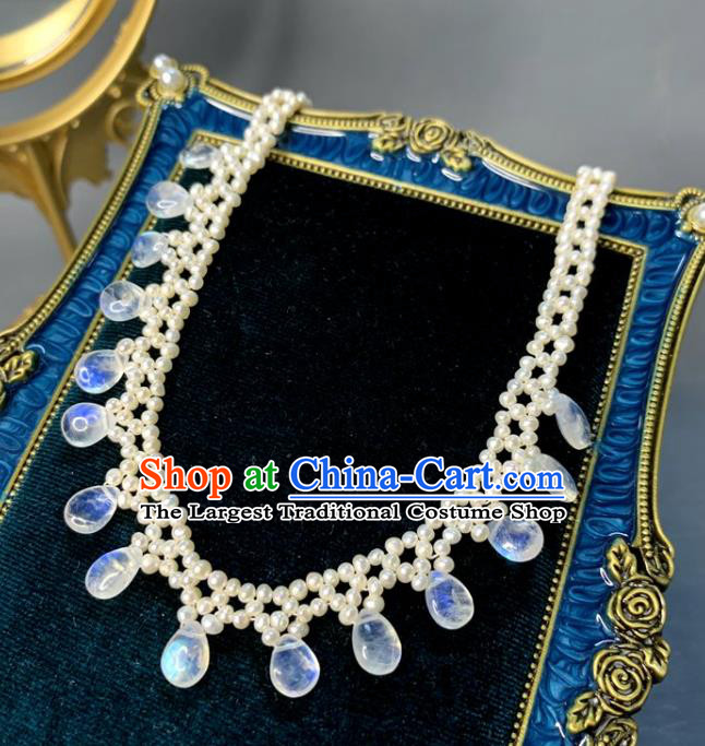 Baroque Handmade Beads Jewelry Accessories European Novel Design Moonstone Necklace for Women