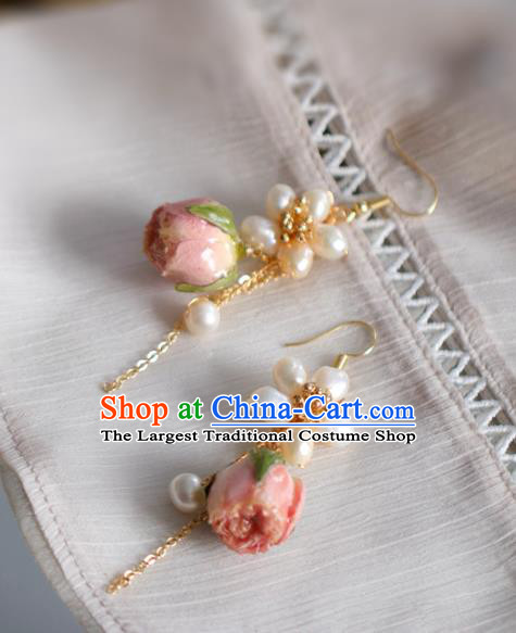 Princess Handmade Tassel Pearls Earrings Fashion Jewelry Accessories Classical Preserved Flower Eardrop for Women
