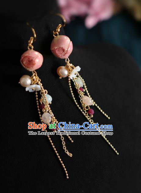 Princess Handmade Golden Tassel Earrings Fashion Jewelry Accessories Classical Pink Preserved Flower Eardrop for Women