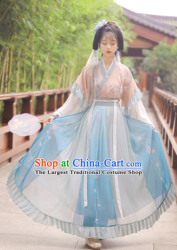 Chinese Jin Dynasty Half Sleeve Top Blouse and Skirt Traditional Hanfu Garment Ancient Young Lady Historical Costumes Full Set