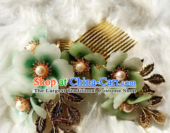 Handmade Chinese Classical Hairpins Traditional Hair Accessories Ancient Qing Dynasty Green Plum Hair Comb for Women