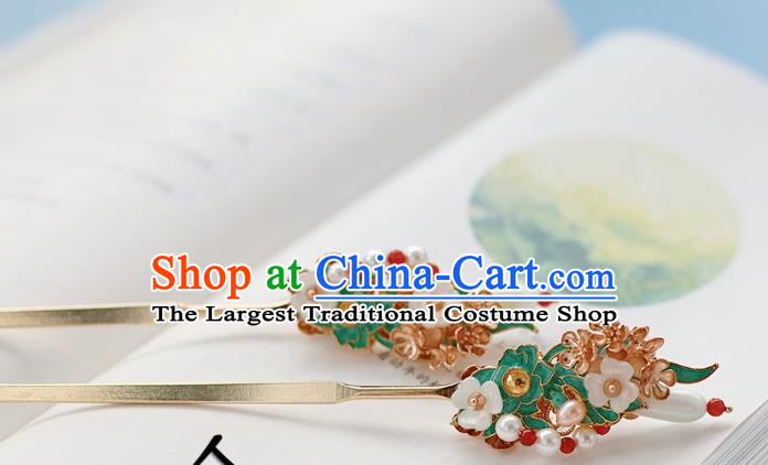 Handmade Chinese Classical Pearls Hairpins Traditional Hair Accessories Ancient Qing Dynasty Court Hair Clip for Women