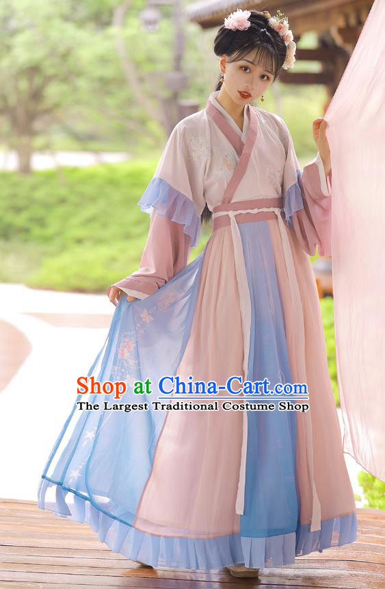 Chinese Jin Dynasty Young Female Top Blouse and Skirt Traditional Hanfu Garment Ancient Goddess Historical Costumes for Women