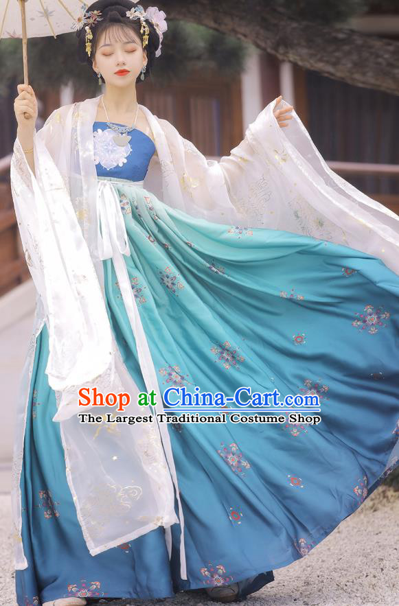 Chinese Tang Dynasty Princess Cloak and Blue Dress Traditional Hanfu Garment Ancient Court Women Historical Costumes Full Set