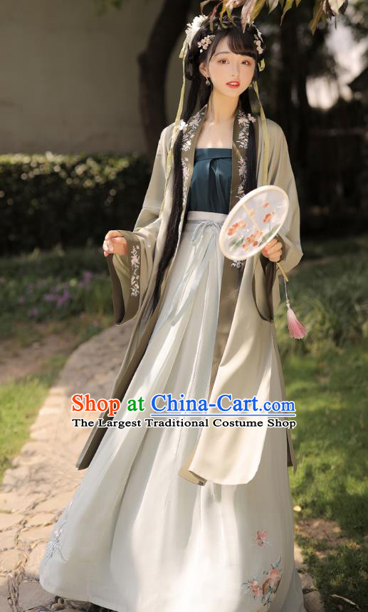Chinese Traditional Hanfu Garment Ancient Village Girl Historical Costumes Song Dynasty Country Woman BeiZi Strapless and Skirt Complete Set