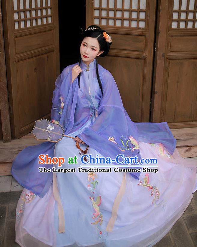 Chinese Traditional Ming Dynasty Hanfu Garment Ancient Noble Lady Historical Costumes Purple Long Blouse and Skirt Complete Set