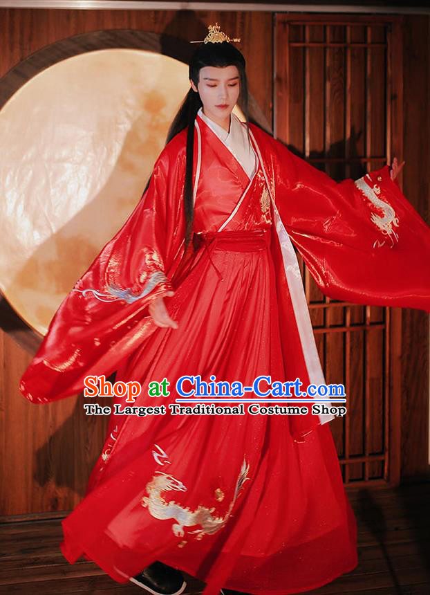 Chinese Traditional Ming Dynasty Prince Hanfu Garment Ancient Wedding Historical Costumes Red Cloak Shirt and Skirt Full Set