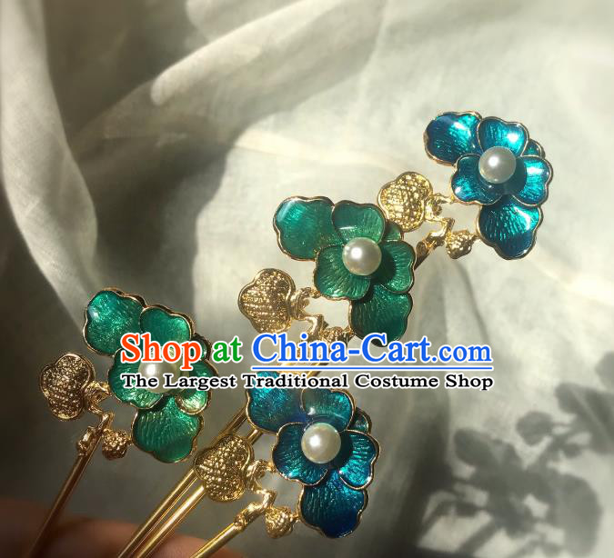 Handmade Chinese Qing Dynasty Blueing Hair Clip Traditional Hair Accessories Ancient Empress Golden Hairpins for Women