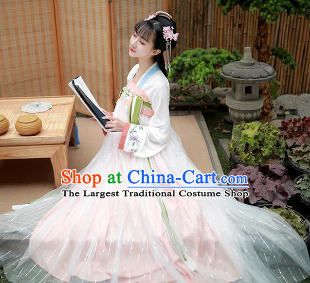 Chinese Traditional Tang Dynasty Noble Lady Hanfu Garment Ancient Costumes White Blouse and Pink Dress for Women