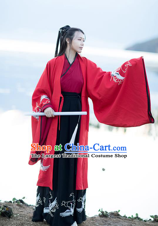 Chinese Traditional Han Dynasty Female Swordsman Hanfu Garment Ancient Knight Costumes Red Cloak Blouse and Black Skirt Full Set