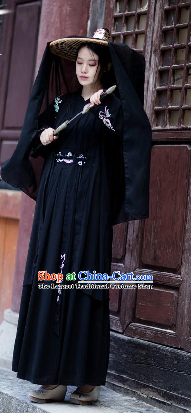Chinese Traditional Ming Dynasty Swordswoman Hanfu Garment Ancient Female Assassin Costumes Black Cloak Blouse and Skirt Complete Set