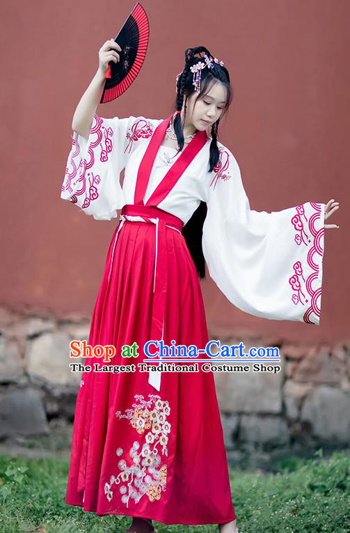 Chinese Ancient Tang Dynasty Village Girl Hanfu Garment Costumes Traditional White Blouse Strapless and Red Skirt Full Set