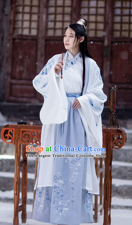 Chinese Ancient Swordsman Garment Costumes Traditional Ming Dynasty Scholar Hanfu Embroidered Cloak Shirt ans Skirt for Men