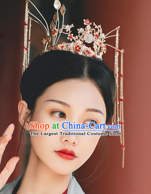 Chinese Classical Wedding Golden Hair Crown Hairpins Handmade Traditional Court Hair Accessories Bride Phoenix Coronet