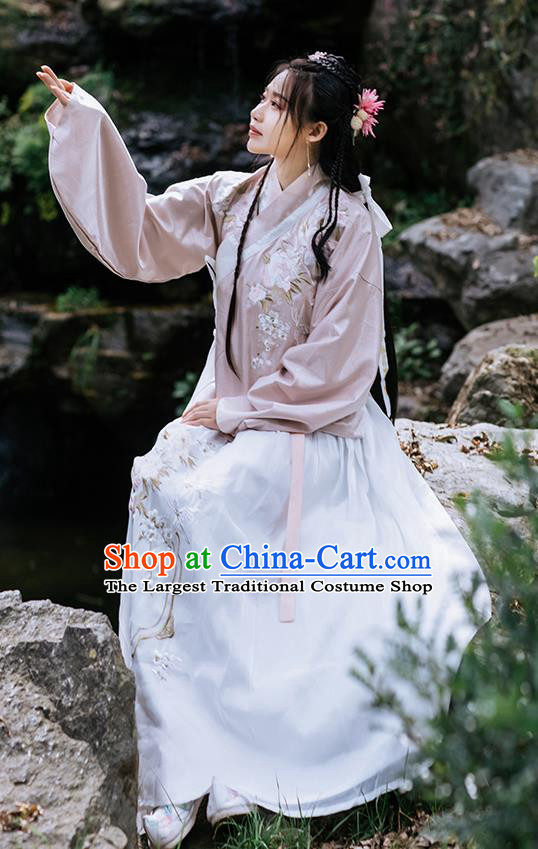 Chinese Ancient Ming Dynasty Costumes Traditional Hanfu Garment Young Lady Embroidered Pink Blouse and Skirt Full Set