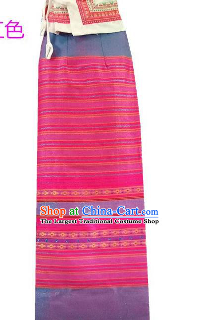 Chinese Dai Nationality Dress Beautician Costumes Traditional Dai Ethnic Pink Straight Skirt for Women