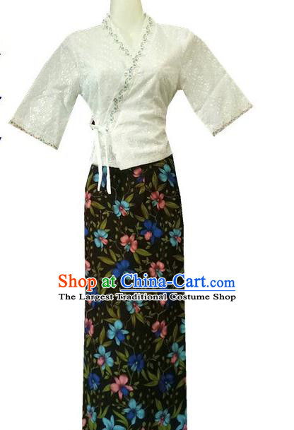 Chinese Dai Nationality Costumes Traditional Dai Ethnic Work White Middle Sleeve Blouse and Printing Flowers Black Skirt for Women