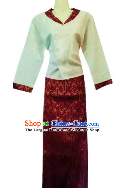 Chinese Dai Nationality Costumes Traditional Dai Ethnic Work White Blouse and Purplish Red Skirt Outfits for Women