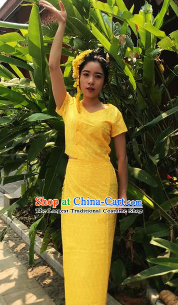 Chinese Dai Nationality Dance Costumes Traditional Dai Ethnic Yellow Blouse and Straight Skirt Full Set for Women