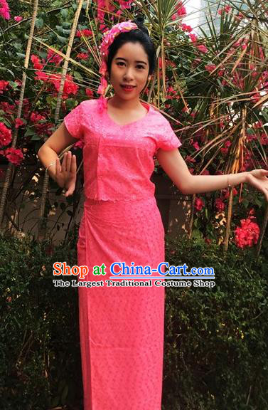 Chinese Dai Nationality Dance Costumes Traditional Dai Ethnic Watermelon Red Blouse and Straight Skirt Full Set for Women